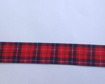 """7/8""""  Plaid - Red - inspired Grosgrain Ribbon  -  By The Yard"""