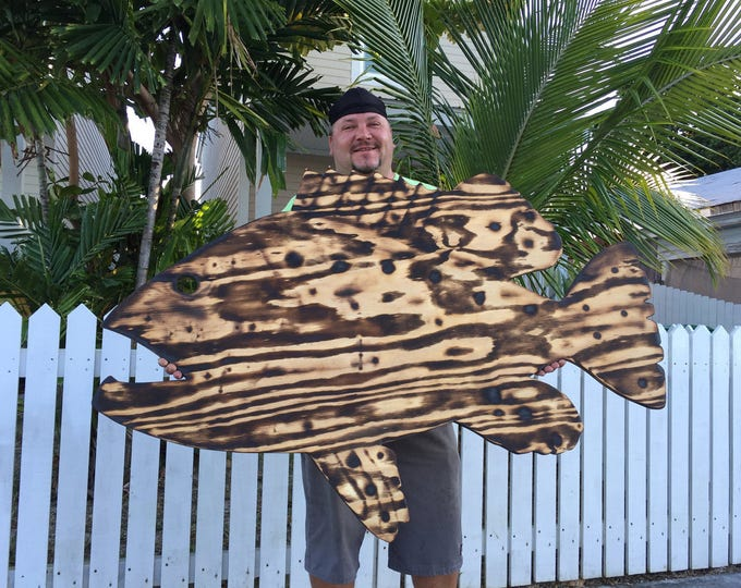 Fathers day gift Large Wall Fish Decor Outdoor Wall Art, Custom Wood Burning Gift Sign, Goliath Grouper Sign. Fisherman's Gift Idea.