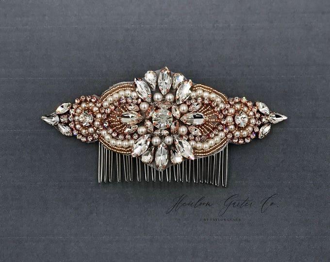 Rose gold Wedding Hair Comb, Pearl and Rhinestone, Bridal Headpiece, Rhinestone Hairpiece, Hair Tiara, Hair Jewelry, Bridesmaid, Hair 04RG