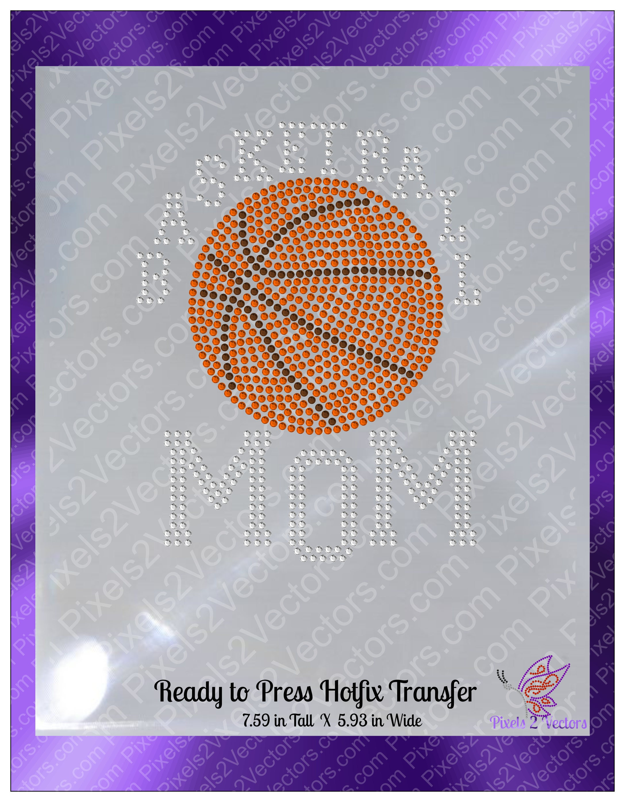 Basketball Mom Rhinestone Transfer Sports Basketball