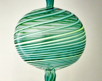 "Handmade Glass Ornament,  6"" x 3 1/4""  Blown Ornament, Handblown Large Ornament, Teal Striped Ornament, Round Suncatcher"