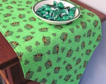 """54"""" St Patricks Day Table Runner Shamrock Table Runner Reversible Clovers Leprechaun Hat Table Runner Luck of the Irish table runner"""