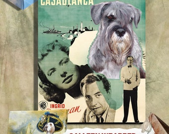 Schnauzer Vintage Art Poster Canvas Print  - Casablanca Movie Poster  Perfect DOG LOVER GIFT Gift for Her Gift for Him Home Decor