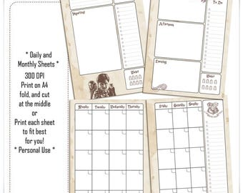 Harry Potter A5 Printable Planner/Daily/Weekly/Monthly/List/Contacts/