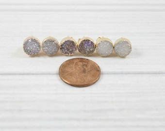 Druzy Earrings, Druzy Stud Earrings, Druzy Studs, Small Earrings, Wife gift, Mom Gift, Girlfriend Gift, Friend Gift, Sparkly Earrings, Gold