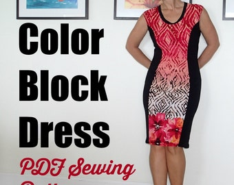 Color Block Dress  - PDF Sewing  pattern