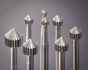For tube-setting! Swiss-made bur set, stone setting burs, flex shaft attachments, set of 8, ranging from 2 to 6mm (box sold separately)