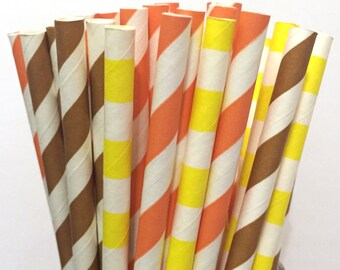 2.85 US Shipping -Fall Paper Straws- Thanksgiving Paper Straws - Cake Pop Sticks - Drinking Straws