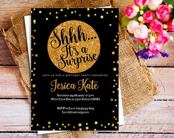 It's a Surprise birthday gold and black, Shhh It's a Surprise birthday invitation, Gold Surprise birthday invitation, gold and black invite