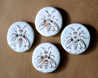 4 Handmade Ceramic Buttons - Bee Buttons -  Rustic Neutral Buttons in Stoneware - Woodland and Rustic Handmade Knitting Supplies