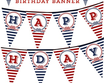 Nautical Happy Birthday Banner, Bunting, Pennant, Print your own, DIY, Instant Download