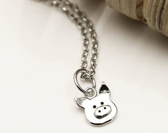 Tiny Piggy Necklace - Sterling Silver Pig Jewellery - Pig Gifts