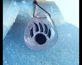 Carved Amethyst Gemstone Pendant Bead,28x25x10mm,9.8g(Cp849)