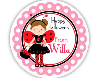Halloween Stickers - Pink Red and Black, Cute Halloween Trick Treat Ladybug Girl Personalized Birthday Party Stickers - Round Sticker Labels