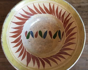 Vintage Mexican Pottery Bowl OOAK Hand Painted Clay Made in Mexico - #R3013