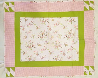 Pink and Green Owl Pattern Baby Quilt