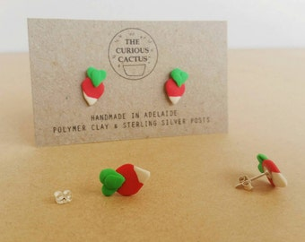 Radish Studs - Handmade Luna Lovegood Harry Potter Vegetable Polymer Clay Sterling Silver Earrings