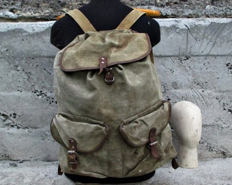 Canvas backpack/ backpack in repair/canvas rucksack/Hiking backpack/ vintage USSR