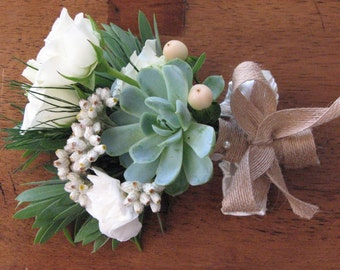 Bridal Succulent and Flower Corsages Wedding