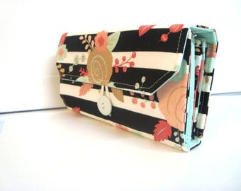 Cash Envelope Wallet  / Dave Ramsey System / Zipper Envelopes - Black and White Stripes With Floral