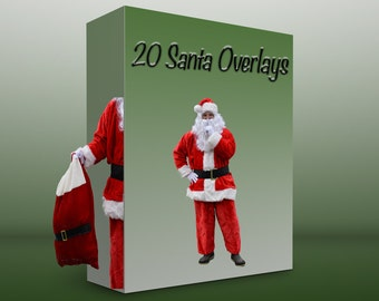20 Santa PNG Overlay files