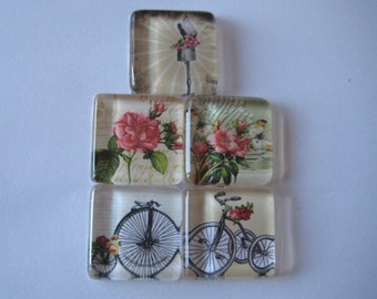 Pretty Vintage Themed Square Glass Magnets Set of 5