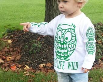 Toddler Kids  Keep Life Wild White Long Sleeve T Shirt Owl 3T  5-6T