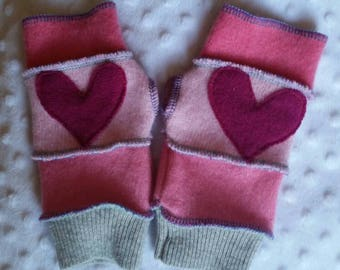 Recycled Wool Arm Warmers Fingerless Gloves 8-14 years