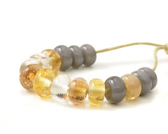 Lampwork Spacer Beads | Handmade Beads | Gold and Grey Lampwork Glass Spacer Bead Set | Artisan Glass | UK SRA