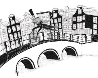Amsterdam rush A4 signed limited edition print