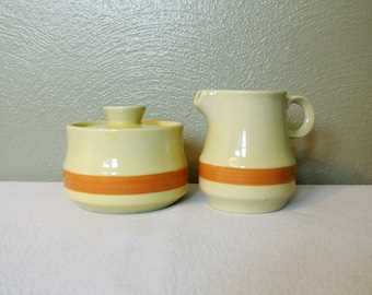 1960s Crest-Stone Sugar Bowl with Matching Creamer!