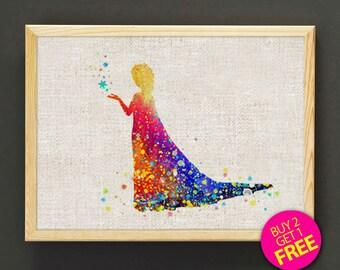 Frozen Elsa Print, Disney Princess, Disney Frozen, Disney Print, Frozen Print, Princesss Watercolor Painting, Gift - FREE SHIPPING - 19s2g