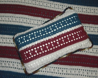 Different Red  White Blue Blanket and Matching Pillow