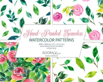 Handpainted Watercolor Patterns, Seamless Pattern Collection, Digital Paper, Instant Download, for Backgrounds, Envelope Liners, Stationery