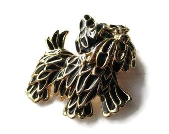 Unsigned Marcel Boucher Scottish Terrier Pin/ Black Enamel Scottie Dog Brooch / Rhinestone Dog Pin