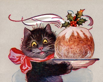 Christmas Cat Card   Kitty with Plum Pudding Greeting Card   Repro Louis Wain
