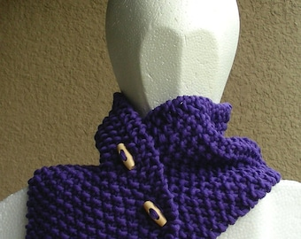 Button Neckwarmer Scarf cowl purple eggplant merino textured hand knit