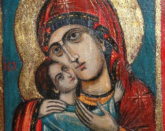 Vintage Orthodox Hand Painted Tempera/Wood Icon Virgin Mary And Christ Child