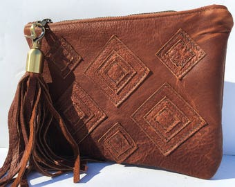 Brown Leather Clutch, Leather Clutch, Boho Clutch, Tribal Clutch, Bohemian Clutch, Boho Leather Clutch, African Clutch, Leather African Bag