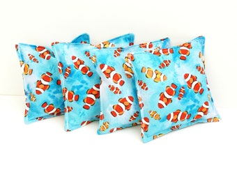4 Clown Fish Bean Bags - 4 Inch Washable Fabric Beanbag - Fish Toss Game - Ocean Birthday Party Game - Open Ended Play Toy - Sensory Toy