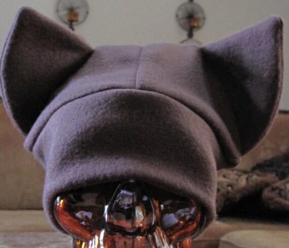 Brown cat ear fleece hat in 7 sizes