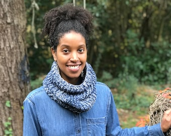 The Faded Handknit-Crochet Cowl/Cotton Neckwarmer/Chunky Handknit-Crochet Cowl/Handmade Cotton Cowl Scarf