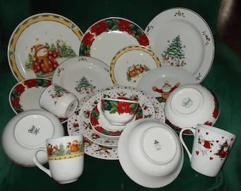 Christmas Dinnerware Mixed Lot Service For Four Christmas China Poinsettia Christmas Tree Plates Bowls Cups Mugs & Christmas dinnerware | Etsy