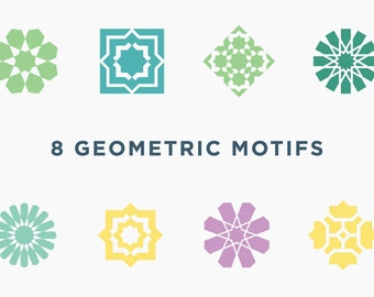 Download 8 Geometric Islamic Arabic Vector Motifs for Logos, Patterns