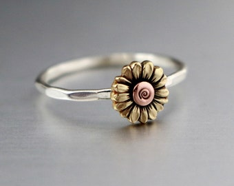 Sunflower Ring, Stack Ring, Flower Stack Ring, Flower Ring, Silver Stack Ring, Sunflower Stack Ring