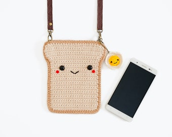 Crochet Coin Purse Bread + Fried Egg keychain/ the Bag/ Shoulder Bag.