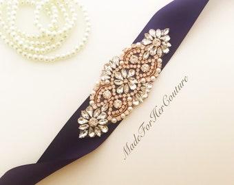 Bridal Sash Purple, Wedding Sash Purple, Purple Rose Gold Sash Belt, Purple Rose Gold Belt, Rose Gold Sash Belt, Bridesmaid Purple Plum Sash