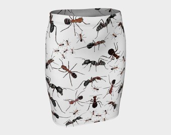 ANTS Pencil Skirt Insect Nature Art Black White Red S-M-L-XL Wearable Art Clothing Clothes Ladies Women Teen Fitted Stretchy