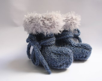 Booties baby boy blue and gray baby booties