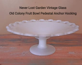 Anchor Hocking Old Colony Milk Glass Large Compote Lace Edge Vintage